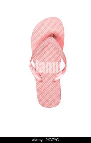 Gomma rosa flip flop, isolato su sfondo bianco. Foto Stock