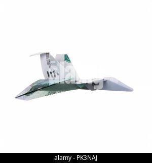 Origami aereo da banconote Foto Stock