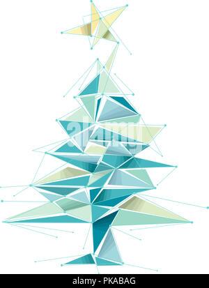 Illustrazione di un geometrico albero di Natale design in blu e giallo