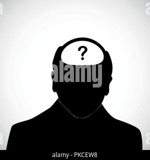 Il vecchio uomo con punto interrogativo dentro la sua testa silhouette di malattia di Alzheimer demenza illustrazione vettoriale EPS10 Foto Stock