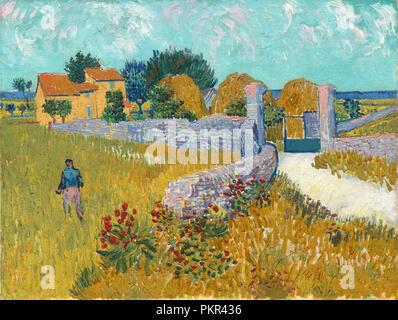 Agriturismo in Provenza. Data: 1888. Dimensioni: complessivo: 46,1 x 60,9 cm (18 1/8 x 24 in.) incorniciato: 74,9 x 88,9 x 10,8 cm (29 1/2 x 35 x 4 1/4 in.). Medium: olio su tela. Museo: National Gallery of Art di Washington DC. Autore: Vincent van Gogh. Foto Stock