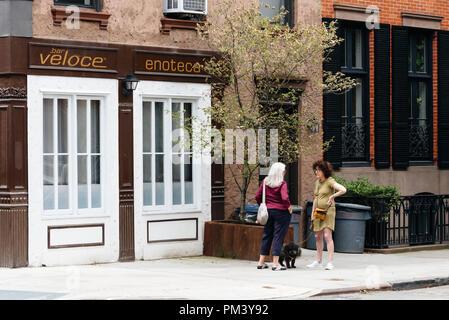 La città di New York, Stati Uniti d'America - 22 Giugno 2018: due anziane signore con cane chiacchierare insieme al via nel Greenwich Village. Foto Stock
