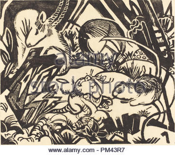 Legenda degli animali (Tierlegende). Data: 1912. Medium: Xilografia su carta del Giappone. Museo: National Gallery of Art di Washington DC. Autore: Franz Marc. Foto Stock