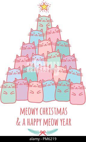 Scheda di Natale con cute kawaii gatti, meowy Christmas, vettore doodle disegno Foto Stock