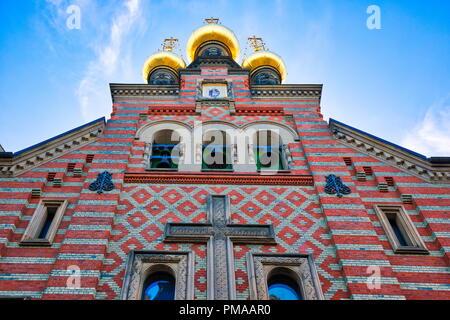 Chiesa russo-ortodossa Alexander Nevskij (Nevsky) chiesa situato nel centro storico Foto Stock