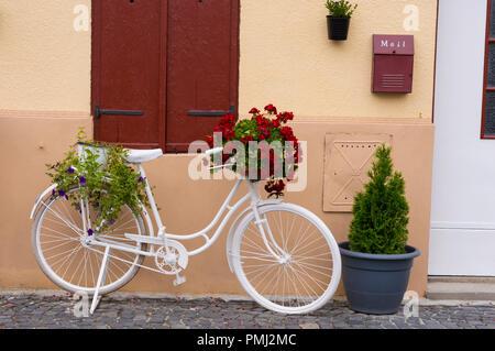 Bicicletta retrò con fiori Foto Stock