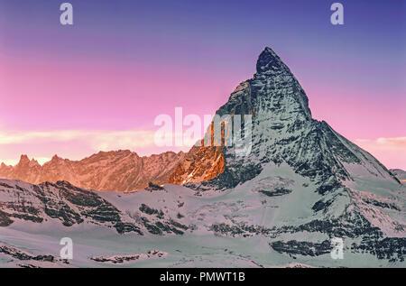 Il Cervino , vista da Gornergrad , Wallise Alpi , Zermatt, Kanton Wallis, Svizzera, Europa Foto Stock