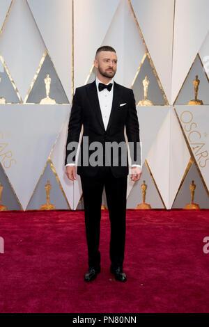 Oscar®-nominee Justin Timberlake arriva all'ottantanovesimo Oscar® al Dolby® Theatre di Hollywood, CA domenica, 26 febbraio 2017. Riferimento al file # 33242 196THA per solo uso editoriale - Tutti i diritti riservati Foto Stock