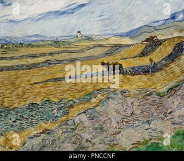 Campo recintato con Plowman. Data/Periodo: 1889. La pittura. Olio su tela. Altezza: 540 mm (21.25 in); larghezza: 654 mm (25.74 in). Autore: Vincent van Gogh. Foto Stock