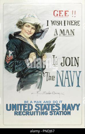 Gee vorrei fosse un uomo, mi piacerebbe partecipare alla marina. Data/Periodo: dopo il 1917. Poster. Litografia su carta. Autore: Howard Chandler Christy. Foto Stock