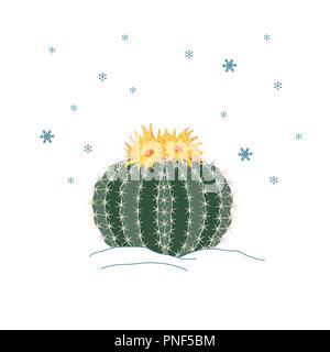 Inverno cactus con fiori e fiocchi di neve sky. Anno nuovo illustrazione, scheda, poster. Sfondo vettoriale Foto Stock