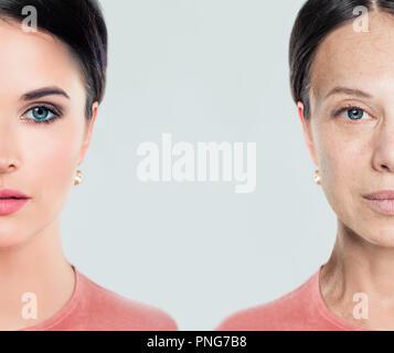 Invecchiamento e la gioventù volto femminile. Donna, i trattamenti di bellezza e di sollevamento. Prima e dopo, della gioventù e della vecchiaia. Processo di Invecchiamento e ringiovanimento Foto Stock