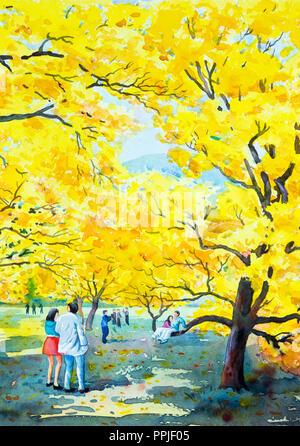 Pittura acquerello originale orizzontale giallo colore arancione di golden tree fiori,e amanti giovane uomo,donna,famiglia in viaggio. Dipinto a mano, cielo blu