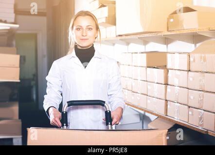 Ritratto di giovane lavoratore di sesso femminile che il carrello di trasporto delle scatole di cartone in deposito Foto Stock