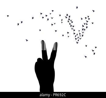 La vittoria a mano simbolo uccelli silhouette isolato su bianco Foto Stock