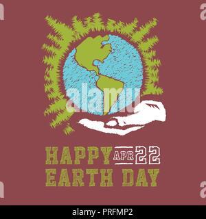 Vettore disegnati a mano la giornata della terra concept sketch. Le mani umane azienda globo con sfondo di stelle. Scritte per la Giornata della Terra Foto Stock