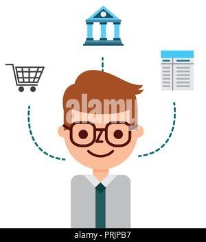 Imprenditore in linea del carrello di shopping fintech banca Foto Stock