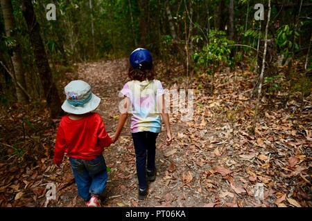 Due bambini camminare attraverso la foresta come holding hands, Dalrymple gap, QLD, Australia Foto Stock