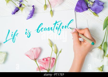 La vita è bella di testo. Font della parola scritta su carta bianca con inchiostro verde da calligrafo. Cornice di fiori. Graphic design, scritte, concetto. Foto Stock