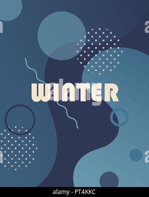 Sfondo Inverno con gradienti,forme e gli elementi geometrici in memphis style.manifesti astratti perfetto per stampe,volantini,banner,inviti,speciali Foto Stock
