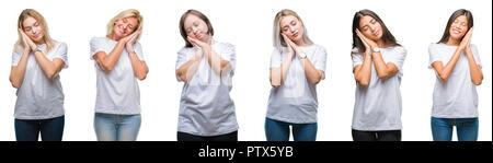 Collage di un gruppo di donne che indossano t-shirt bianco su sfondo isolato dormire stanchi di sognare e in posa con le mani insieme mentre sorridente con clo