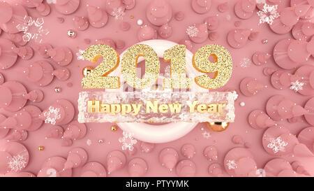 Felice Anno Nuovo 2019 sfondo decorato con alberi di Natale, caduta di fiocchi di neve e 2019 numeri di oro. Foto Stock