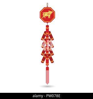 Rosso cinese petardo icona piatta. Illustrazione Vettoriale. Red fire cracker art design.