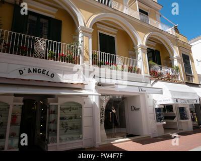 Boutiques di designer, Capri, Capri, Campania, Italia. Foto Stock
