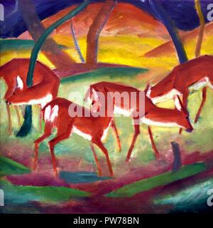 Rote Rehe - Red Deer 1910 da Franz Marc 1880-1916 Francia - Francese Foto Stock