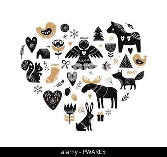 Illustrazioni di natale, banner design disegnati a mano elementi in stile scandinavo Foto Stock