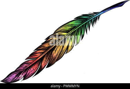 Illustrazione colorata di piuma di uccello Foto Stock