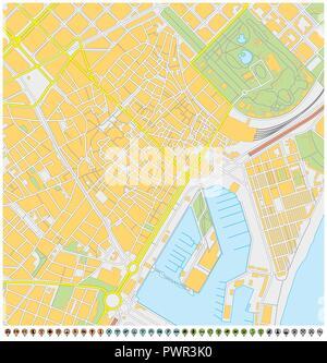 Cartina Barcellona Dettagliata.La Citta Di Barcellona Mappa Vettoriale Immagine E Vettoriale Alamy
