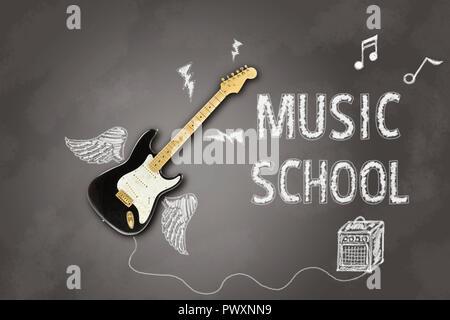 Immagine raffigurante una chitarra elettrica su una lavagna con annuncio scritto in Chalk relativi a lezioni di musica Foto Stock