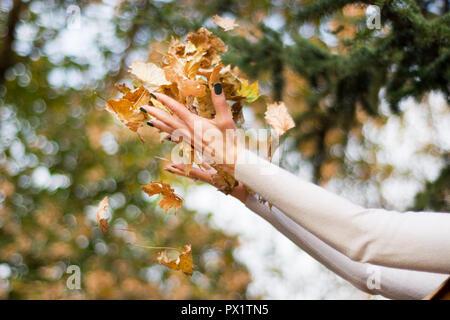 Bella ragazza lanciando a mano secca foglia caduta in aria sulla bellissima giornata autunnale nel Parco. La stagione autunnale Concetto di immagine. Close up, il fuoco selettivo Foto Stock