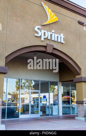 American società di telecomunicazioni negozio Sprint edificio segno esterno e il logo Foto Stock