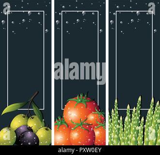 Tre modelli di sfondo con verdure fresche, illustrazione Foto Stock