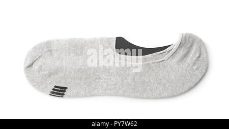 Uomo invisibile grigio calze isolato su bianco Foto Stock