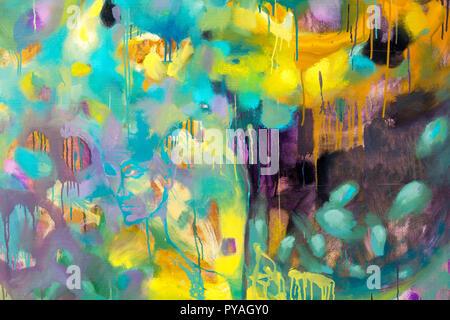 L'arte astratta sfondo. Acrilico su tela. Ruvido pennellate di vernice. Foto Stock