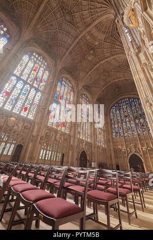 File di sedie di fronte al sud e ad ovest le finestre di vetro macchiate sotto la ventola soffitto della Cappella del King's College, Università di Cambridge. Foto Stock