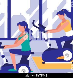 Le donne sulla cyclette in palestra, design colorato. illustrazione vettoriale Foto Stock