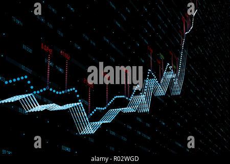3D rendering grafico azionario con sfondo nero Foto Stock