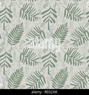 Vettore di sofisticati verde foglie tropicali seamless pattern su sfondo verde chiaro. Summery, festosa e divertente.