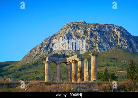 Tempio di Apollo, antica Corinto, del Peloponneso, della Grecia, Europa Foto Stock