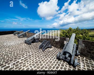 Brimstone Hill Fortress, Schwefelberg Fortezza, Sito Patrimonio Mondiale dell'UNESCO, Basseterre, Saint Kitts e Nevis Foto Stock