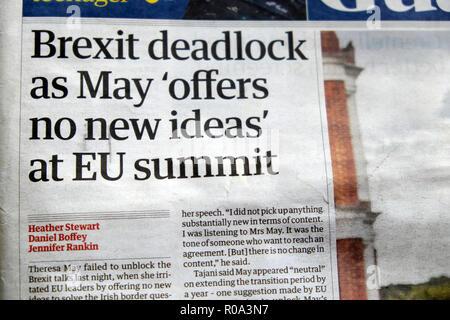 """""""Brexit deadlock come maggio 'non offre nuove idee' al vertice UE' quotidiano Guardian headline il 18 ottobre 2018 in Londra England Regno Unito Foto Stock"""