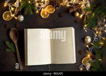 Ricette Sul Natale.Ricettario Di Vuoto Per Ricette Di Natale Sulla Tavola Di