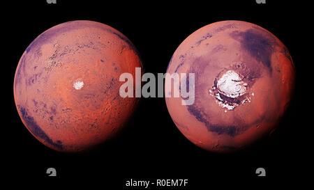 Marte con il Pianeta Rosso a nord e a sud il ghiaccio polare cappuccio, isolati su sfondo bianco Foto Stock
