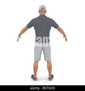 Giocatore di Golf in una camicia grigia su un bianco. 3D illustrazione