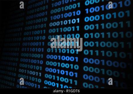 Il flusso dei dati sullo schermo del computer sullo sfondo. Numeri digitali con colori blu. Foto Stock
