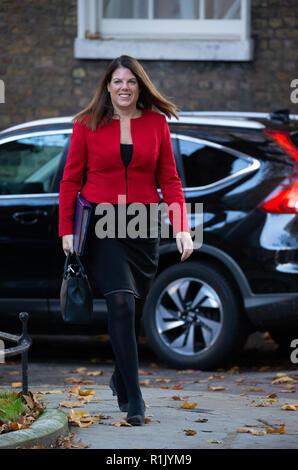 A Downing Street, Londra, Regno Unito. 13 Nov 2018. Caroline Nokes, Ministro di Stato per l'immigrazione, arriva per la riunione di gabinetto in cui i colloqui su Brexit sono ancora in corso per portare a termine un affare. Credito: Tommy Londra/Alamy Live News Foto Stock